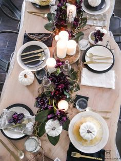 See all the details of this early fall tablescape with black and white fall decor and tons of deep earth tones. This plum fall table decor is so refreshing. Treatment Projects Care Design home decor
