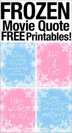 FREE Frozen movie quote printables. Perfect for little ones birthday party or bedroom