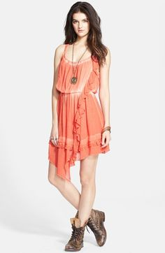 Free People 'Aphrodite' Tie Dye Asymmetrical Hem Ruffle Dress available at #Nordstrom