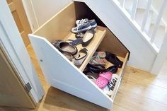 Stair shoe storage under a stair frame # stair frame # stair shoe . # one shoe # stair shoe storage Shoe Storage Under Stairs, Under Stairs Cupboard, Stair Storage, Hallway Shoe Storage, Staircase Storage, Small Shoe Rack, Staircase Frames, Shoe Cupboard, Cupboard Ideas