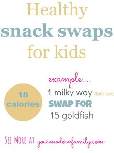 LOVE THIS!  Great info (especially for Halloween!)   Healthy Snack Swaps for kids