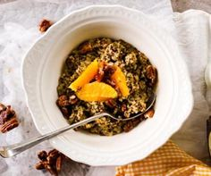 Orange & Maple Pecan Quinoa Porridge #recipe
