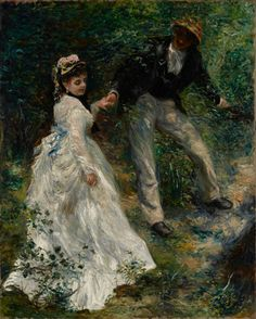La Promenade. By Pierre-Auguste Renoir. Dutch, 1870. Oil on canvas. Pierre-Auguste Renoir captures a lighthearted moment as a Parisian couple interact in a park.