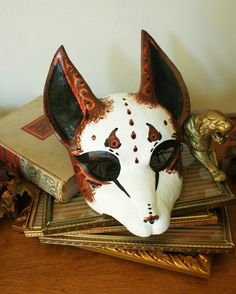 Fancy Brown and White Fox Mask by nondecaf.deviantart.com on @deviantART