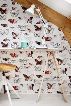 Add vibrancy to their room with our stunning orange wallpaper. Free delivery available Graham & Brown Orange Wallpaper, Butterfly Wallpaper, Rose Wallpaper, Wall Wallpaper, Pattern Wallpaper, Interior Design Advice, Interior And Exterior, Butterfly Decorations, Workspace Inspiration