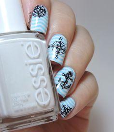Nailstorming - Il était un petit navire - Anchor nails - Nautical nails - Sailor nails - Water decals - MoYou Sailor 04 - waves - nails - nailart