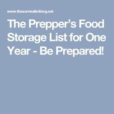 The Prepperu0027s Food Storage List for One Year - Be Prepared!  sc 1 st  Pinterest & 9 PRINTABLE Food Storage Cookbooks PDF - Preppers Survive ...