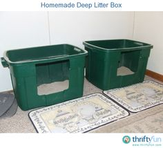 I always had a hard time finding a litter box that was deep enough for my cats. They kicked loads of litter out the side with traditional boxes.  Then I tried a covered box and it just made them stinky when they came out. So I made my own litter box.