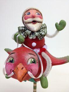 Flying Santa (Red Bird) by Alycia Matthews, OOAK, Paper Clay, One of a Kind, Original by AlyciasArt on Etsy https://www.etsy.com/listing/118194506/flying-santa-red-bird-by-alycia-matthews