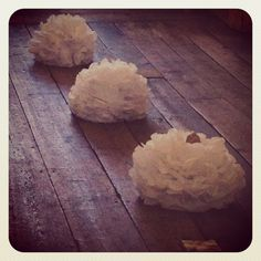 Three of our large pure white paper poms. Looking delicious as a ceremonial 'three.' Or just as delightful, picked up and walked around with. Scrummy!