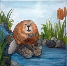 Ben the Beaver Watercolour on canvas
