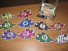 Dinosaur clothespin counting activity