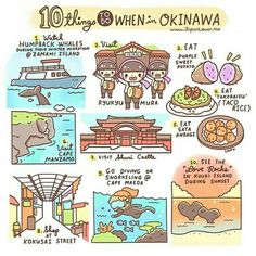 10 Things to Do when in Okinawa, text; Japan