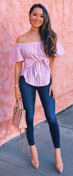 Trendy How To Wear Jeans With Heels Casual Shoes Ideas How To Wear Heels, Dress And Heels, What To Wear, Pink Outfits, Fashion Outfits, Pink Jeans Outfit, Style Fashion, Summer Outfits, Mode Pop