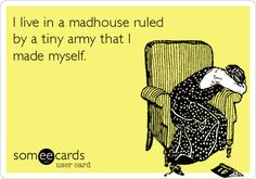 I live in a madhouse ruled by a tiny army that I made myself.