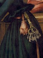 detail from birth of Mary, 1493, Germany, Augsburg (Dom Mariae Heimsuchung)    Keys on woman's belt