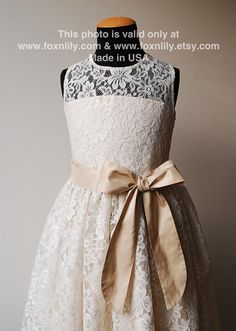 Ivory OR White Lace Dress Petra with Silk Sash and Bow by FoxnLily, $210.00