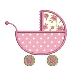 Instant download baby carriage embroidery design applique download
