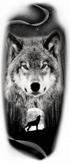 Wolf with moon tattoo idea - Tattoos Wolf Tattoo Forearm, Wolf Tattoo Sleeve, Lion Tattoo, Sleeve Tattoos, Wolf Tattoo Tribal, Wolf Face Tattoo, Cute Tattoos, Body Art Tattoos, New Tattoos