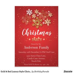Gold & Red Luxury Style Christmas Party Invitation Christmas Party Invitations, Christmas Baubles, Party Hats, Candy Cane, Red Gold, Rsvp, Party Themes, Luxury Fashion, Seasons
