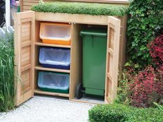 Garbage and Recycling Storage Who says trash and recycling storage can't be attractive? Hide these unsightly entities in plain sight with DIY or ready-made options in wood, plastic, trellis screening or even woven willow. Whatever you decide make sure it has wide doors. The model featured here has a green roof, further increasing its eco credibility.
