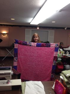 Patchwork border blanket finished at Cape Cod sewing retreat 12-14