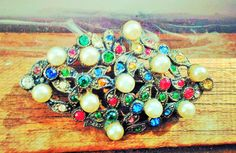Vintage faux pearl Brooch, Nice sparkle Pin. red blue green amber, beautiful by VintageVarietyFinds on Etsy