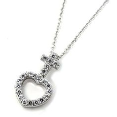 """Heart and Cross Shaped Sterling Silver Heart Necklace; 18""""L with 2"""" extension; Lobster clasp closure; Top grade Cubic Zirconia stone on sterling 925 silver setting; Heart and cross pendant measures 0.3""""W x 0.6""""H Eileen's Collection. $55.99. Save 49%!"""