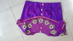 Pattu blouse with back high neck with pearls work and buttons 91 9866583602