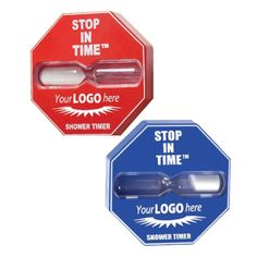 """Encourage efficient showering with the 5 minute Shower Timer. Simply affix the shower timer to the shower wall using the suction cup on the back and rotate to activate the hour glass style sand timer. When all sand has traveled from one cavity to the other, you should be clean and out of the shower. Available in red or blue with or without """"STOP IN TIME SHOWER TIMER"""" preprinted on the product. Imprint area is 2 1/4""""W x 3/4""""H"""