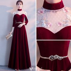 Chinese style Burgundy See-through Evening Dresses 2018 A-Line / Princess High Neck Sleeve Appliques Lace Metal Sash Floor-Length / Long Ruffle Formal Dresses Bridesmaid Dresses, Prom Dresses, Formal Dresses, Wedding Dresses, Elegant Dresses, Beautiful Dresses, Style Chinois, Dress Outfits, Fashion Dresses