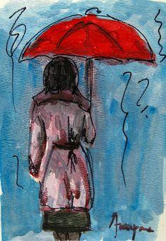Woman under a red umbrella Painting  - Woman under a red umbrella Fine Art Print