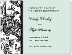 Modern Toile - Signature White Save the Date Cards - Sarah Hawkins Designs - Sky - Blue : Front