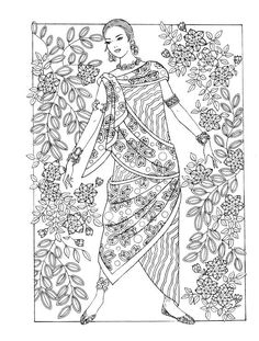 Creative Haven Coloring Books, Fashion Illustration Vintage, Fashion Design Sketches, Free Coloring Pages, Border Design, Fashion Books, Colorful Fashion, Abstract Pattern, Embroidery Stitches