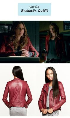 "November 19, 2013 @ 8:58 pm Stana Katic as Detective Kate Beckett in Castle - ""Disciple"" (Ep. 609). Detective in red! Loving this color on Beckett. Beckett's Jacket: IRO ""Han"" Leather Jacket $1,260 here 