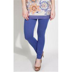 Blue Women Cotton Lycra - Leggings