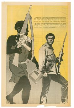 The Revolutionary Art of Emory Douglas.  graphic art made by Emory Douglas (b. 1943) while he worked as Minister of Culture for the Black Panther Party from 1967 until its discontinuation in the early 1980s. The Black Panthers cultivated a strong graphic identity for their group and their politics during this period, bringing their concerns to the public through newspapers, posters, and pamphlets that can often be described as angry, militant, and incendiary.