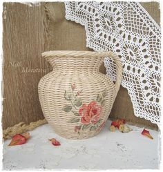Wattled jug with a decoupage