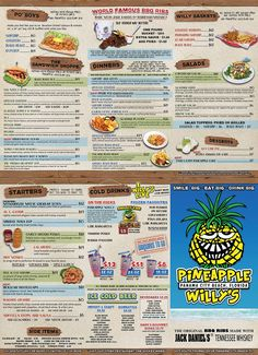 Pineapple Willy's Menu is packed full of great food sure to satisfy any craving. Be sure and check out our famous ribs! Panama City Beach Florida, Destin Florida, Florida Vacation, Florida Travel, Panama City Panama, Florida Beaches, Vacation Trips, Family Vacations, Cruise Vacation