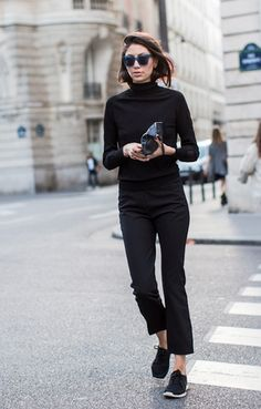 A black turtleneck and black dress pants couldn't possibly come across as other than strikingly elegant. Black trainers will contrast beautifully against the rest of the look.