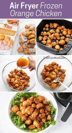 Better than take out! These Easy Air Fried Orange Chicken from Frozen come out crispy and delicious! It's so good and perfect for a quick, easy dinner.