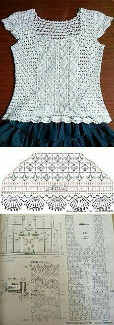 Knitting Patterns Sweter 钩花衣 'Design inspiration for crochet top' Débardeurs Au Crochet, Cardigan Au Crochet, Pull Crochet, Mode Crochet, Crochet Shoes, Crochet Woman, Crochet Chart, Crochet Cardigan, Crochet Clothes