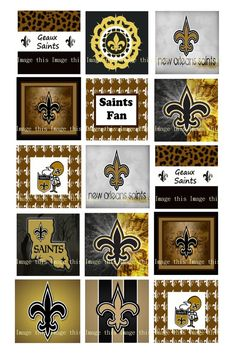 Printable New Orleans Saints One Inch Squares by ImageThis on Etsy