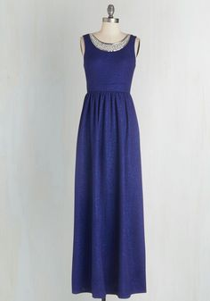 Beyond Compare Dress in Sapphire / It's undeniable - you've never felt more breathtaking in this royal-blue gown! Sprinkled with metallic flecks that offer an elegant sheen, this maxi dress dazzles with beaded embellishments, while its gathered skirt and broad waistband offer unparalleled fit.
