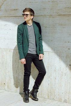 Navy Soldier (by Dave Waldorf) http://lookbook.nu/look/4745397-Zara-Blazer-Striped-Shirt-High-Boots-Ray%20Ban