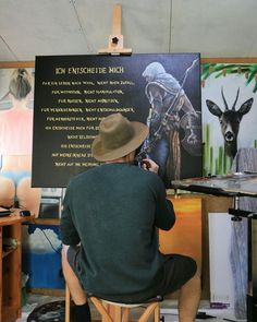 Günter Leiter painting the assassine Motivation, Bucket Hat, Ladder, Ideas, Pictures, Bob, Panama, Inspiration