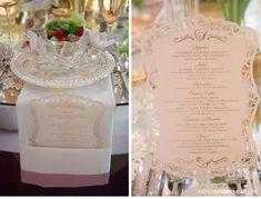 Romantic Rose Gold Wedding. Custom pink laser-cut menus by Ceci New York. http://www.cecinewyork.com/cecistyle/v152