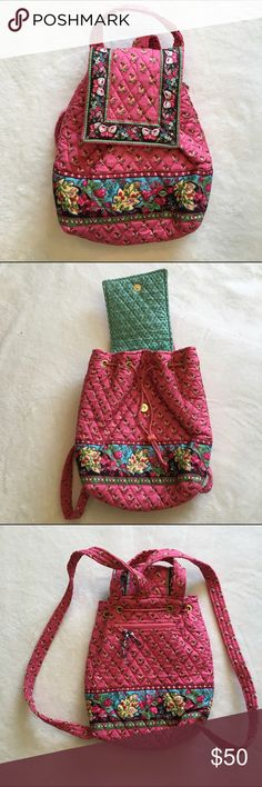 *Retired* Vera Bradley Pink Pansy Mimi Backpack *Retired* Vera Bradley Mimi backpack in Pink Pansy pattern. Exterior zip pocket and drawstring closure. Vera Bradley Bags Backpacks