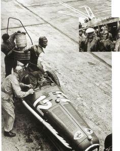GP GERMANY (NURBURGRING) 1935 ,  Tazio Nuvolari Alfa Romeo P3 #12  on box refuelling,, race winner
