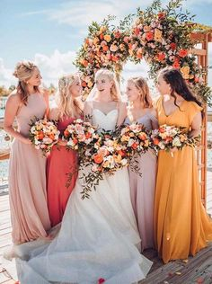 29 Gorgeous Wedding Colors for 2019 with Bridesmaid Dresses - Fabmood Rustic Bridesmaid Dresses, Beautiful Bridesmaid Dresses, Bridesmaid Dress Colors, Stunning Wedding Dresses, Princess Wedding Dresses, Wedding Dress Styles, Wedding Bridesmaids, Tangerine Bridesmaid Dresses, Bride Dresses